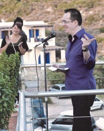 John Claudianos giving a speech in impeccable Greek