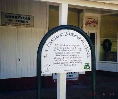 Cassimatis General Store, Muttaburra. Plaque outside the store.