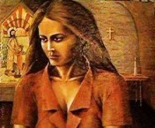 Peter Sophios - Girl in a Chapel - Acrylic on Board - 20 x 18