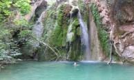 Jemima swimming at the second waterfall down from Mylopotamos