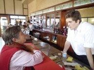 Local barista Ben Hutton found time to serve Information Office staff member Jenny Mead