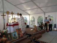 Father Nicholas of Lourantos Village - St. Basil's Homes, delivering the sermon on the feast day of Saint Haralambos