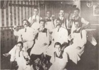 Staff in a Greek cafe in the 1910's. On the Life in Australia panel