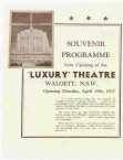 Walgett. The Luxury Theatre. The Conomos Brothers. Programme, Front Page. Les Tod's account.
