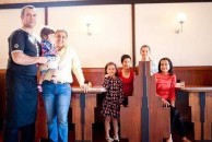 Vio Nedianu and his wife, Ayesha with five of their children. The couple run the Roxy caf