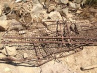 Rusted and dangerous upper part of the eastern Kytherian Municipal Library wall were removed