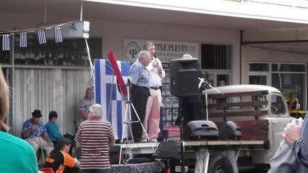 Paul Kalokerinos feted by another local dignitary